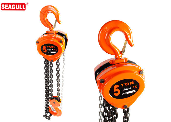 Orange Heavy Duty Chain Lifter , Chain Pulley Block 30 ton CE GS