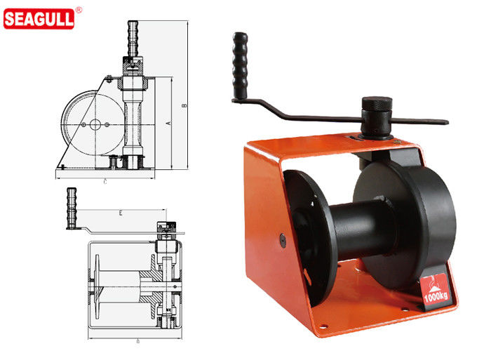 1 Ton Hand Lifting Winch With Brake / Handle Adjustment For Wharf