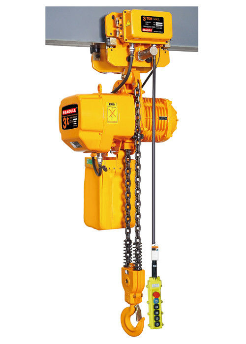 Yellow Color Push Travel Trolley , Heavy Duty Electric Chain Hoist